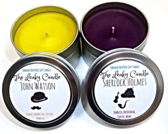 Sherlock Holmes & John Watson -- Sherlock inspired soy candle -- set of TWO 4oz metal tins or 8oz glass jars