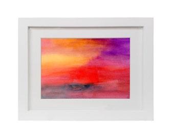 Framed Landscape Watercolor Print Modern Abstract Art Print Canvas Print Wall Decor
