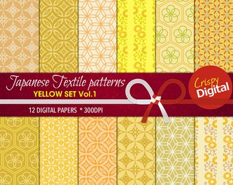 Japanese Pattern Yellow, Orange and Green Digital Papers 12pcs 300dpi Instant Download Collage Sheets Scrapbooking Printable Paper