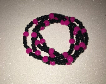 Pink and Black Glass Beaded Stretch Bracelet