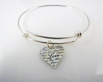 Sterling Silver-Adjustable Bangle-Bracelet-Love Heart-Charm-for her