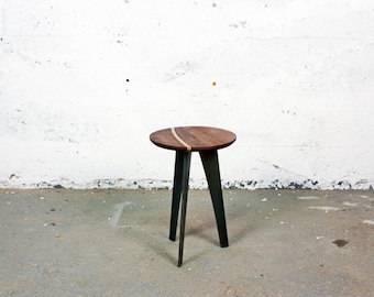 GROGG Stool ⎮ Wood and Steel Walnut Stool Oak Stool Round Bench Side Table End Table   Apartment Furniture