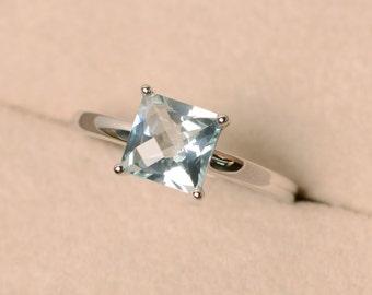 Aquamarine ring, natural aquamarine, solitaire ring, sterling silver, ring aquamarine