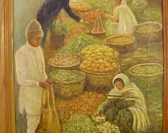 Village market oil painting Ethnic street vendors villagers--Asian or Middle East Market