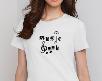 MUSIC GEEK Musician Band Funny Ladies Tee