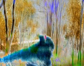 Pink Figure, Limited Edition Photograph, abstract forest landscape, modern art, blue, green, gold, signed, numbered, wall decor, art print