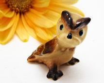 Vintage Hagen Renaker Retired Baby Barn Owl Barn Owl # 156  Green Eyes Gloss 1970s  Miniature Figurine for Dish Garden or Shadow Box