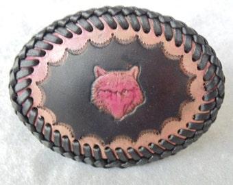 Leather Wolf Head Belt Buckle