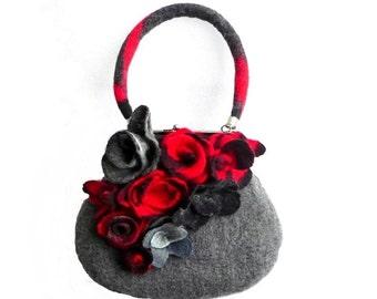 Felted bagfelted purse Felt bag shoulder bag Bags&Purses  Handbags Bags Grey Red Roses  Gift Shoulder Bags