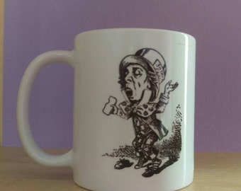 Alice mad hatter gift mug,the mad hatter, Alice mug,Alice cup, from the books by Lewis Carroll, illustration mug,illustration cup,wonderland