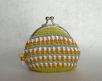 Crochet coin purse with metal kiss lock frame - Interweaved strips  - Yellow green, white, grey, goldenrod // Gift for her