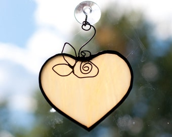 Large Cream Stained Glass Heart