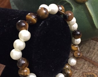 Tiger eye pearl braclet