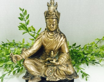 Vintage Cast Brass Sitting Buddha Very Detailed