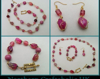 Pink Agate Jewellery   Dyed Pink   Semi Precious Gemstones   Rose Gold Plated   Wrapped Jewellery Set