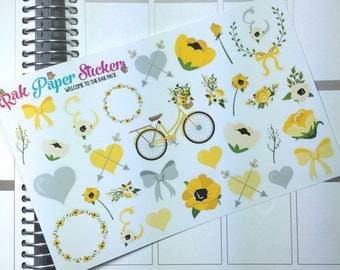 Floral Bicycle ride! (Yellow and Grey) Decorative stickers for your Erin Conren, happy planner, inkwell press, or other calendar or planner!