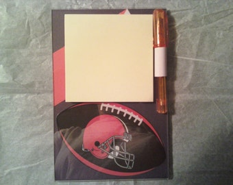 Cleveland Browns magnetic Post it Note holder with pen