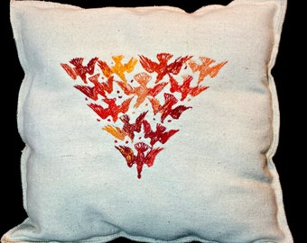 Red Embroidered Bird Vintage Graphic Upcycled Canvas Pillow
