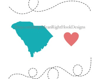 South Carolina svg, state silhouette, heart svg, and dotted lines INSTANT DOWNLOAD vector files for cutting machines - svg, png, dxf, eps