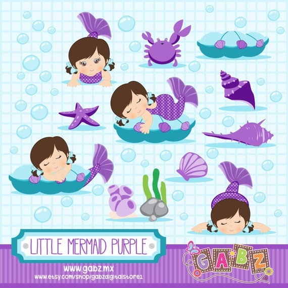 little mermaid purple baby shower clipart baby girl by