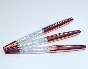 Rose gold pen, gold crystal pen, copper crystal pens, rose gold crystal pen, bling pens, diamond pens, stationery, black ink