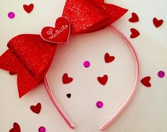 Valentine's Day Sparkly Bow Headband
