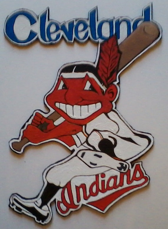 Chief Wahoo Cleveland Indians Logo Hand Painted Wall Art