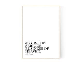 Joy, CS Lewis Quote, Printable, Wall Art, Decor, Monochrome, Joy is the serious business, Christian, Graphic Design Poster, Minimalist