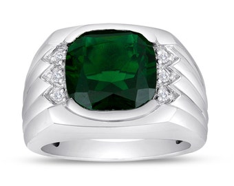 Men's Emerald Ring In Sterling Silver with Genuine Diamonds