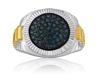 Men's Blue Diamond Ring In Sterling Silver
