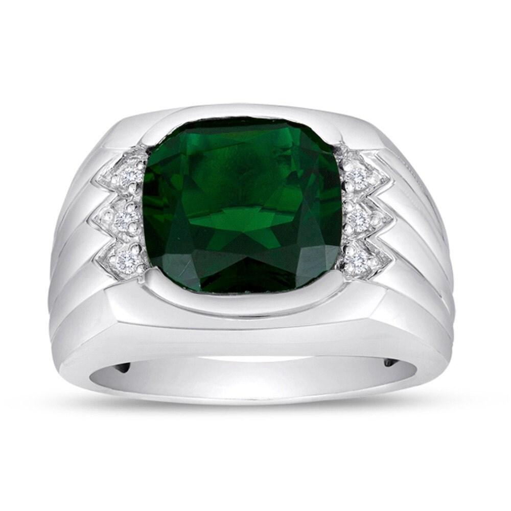 men 39 s emerald ring in sterling silver with genuine. Black Bedroom Furniture Sets. Home Design Ideas