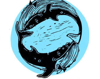 Illustration 'Having Fun' Whales - Baleines I Whale I Whale Illustration I Sérigraphie I ScreenPrint I Funny Illustration I Art Deco I Cute
