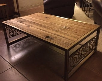 Old world reclaimed wood and steel coffee table