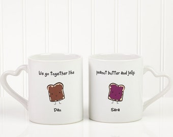 We Go Together Like... Personalized Couples Mug Set