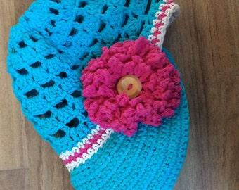 Crocheted visor hat, spring summer hat