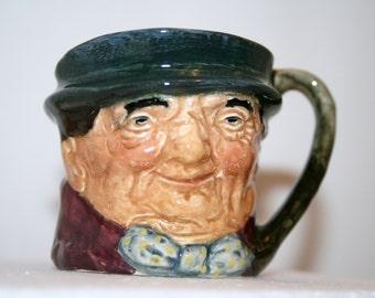 SALE: Vintage Royal Doulton miniature toby jug; Tony Weller character jug; collectible toby mug