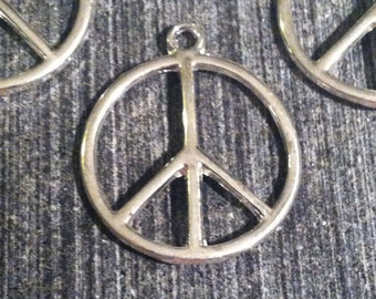 10 Shiny Silver Peace Sign Charms 24mm Findings Jewelry Making Supplies Charm Symbol Symbols Hippy (ID CH-12)