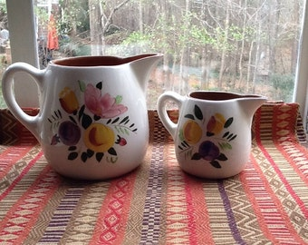 Set of 2 Stangl Fruit and Flowers Pitchers-Perfect for Entertaining!