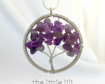 SALE!! Sterling Silver Tree of Live With Natural Stones/Stones Necklace/Family Tree Necklace/Amethyst/Mothers Jewelry/Tree of life ecklace