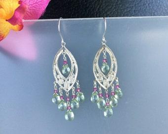 Sterling Silver Mint Green Mystic Quartz & Pink Quartz Filigree Chandelier Earrings
