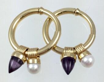 14K Gold Hoop Earrings with Charms - Vintage Amethyst & Pearl Charms, RARE Non Pierced Hoop Earrings ERG3566