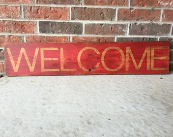 Welcome sign, distressed wood sign, red rustic welcome sign, entryway sign, foyer sign, fixer upper style, farmhouse decor, shabby chic