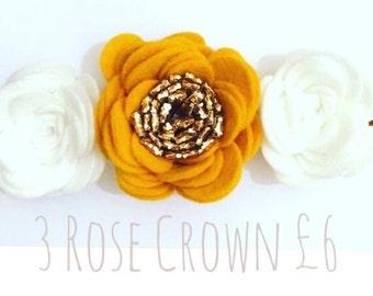 3 Rose Flower Headband Mustard White Gold