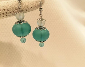 Turquoise and Seafoam Recycled Sea Glass Earrings