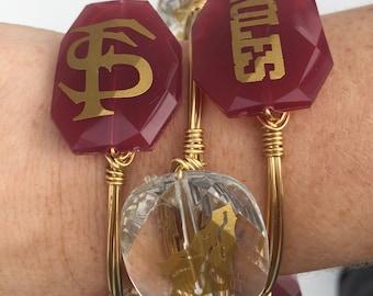 Florida State Seminoles Wire Wrapped Bangle Bracelet Set of 3