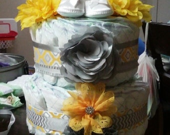 Yellow and grey 2-tier diaper cake
