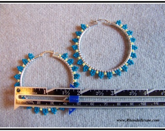 sterling silver hand beaded hoop earrings turquoise and yellow