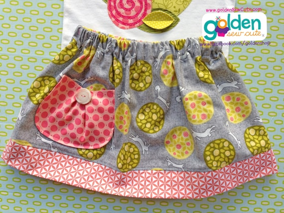 Easter Bunny Vintage Design Fabric Skirt with Pocket, Spring, Tee also available!