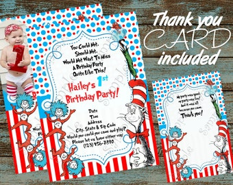 Dr. Seuss Birthday Party Invitation, Cat in the hat invitation, Dr Seuss invitation, Dr. Seuss Thank you card, Cat in the hat Thank you card