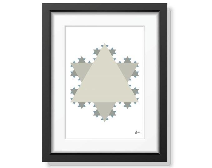 Koch star 05 [mathematical abstract art print, unframed] A4/A3 sizes